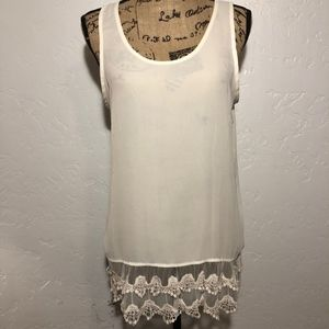 Charming Charlie lace hem blouse, size medium